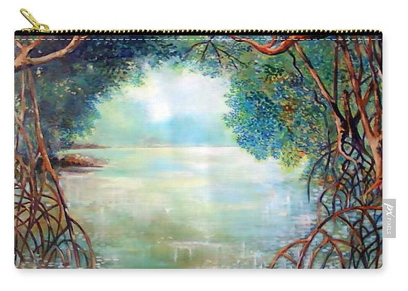 Panama Landscape Carry-all Pouch featuring the painting Amanece En El Sendero Del Perezozo by Ricardo Sanchez Beitia