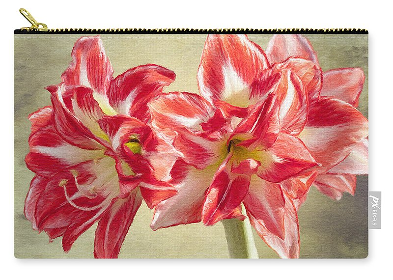 Amaryllis Carry-all Pouch featuring the painting Amaryllis Red by Jeffrey Kolker