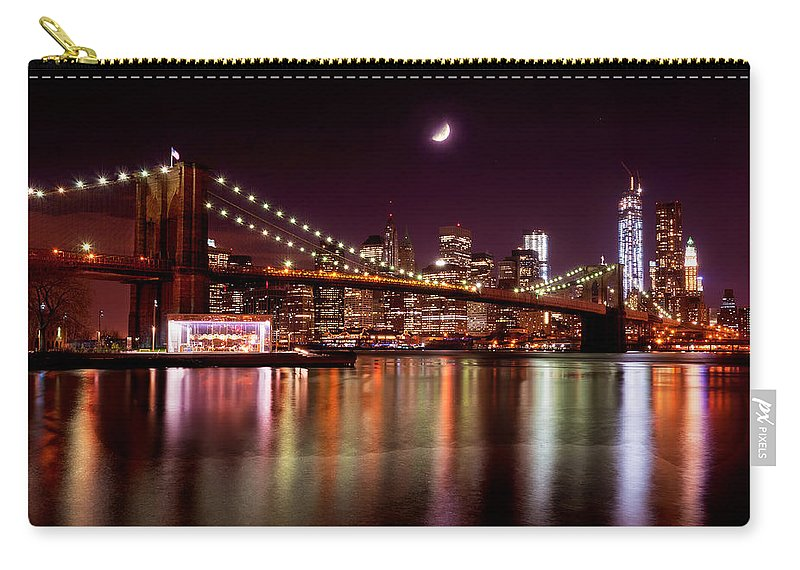 America Carry-all Pouch featuring the photograph Amazing New York Skyline And Brooklyn Bridge With Moon Rising by Mitchell R Grosky