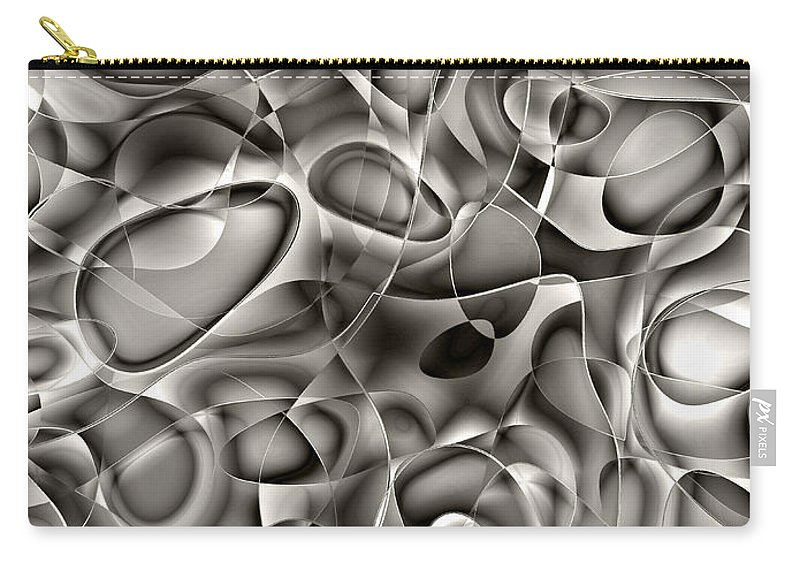 Abstract Carry-all Pouch featuring the digital art Amazing World Of Cells - Black And White by Klara Acel