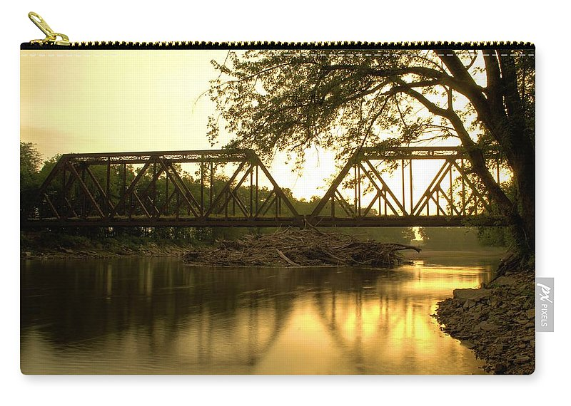 Trees Carry-all Pouch featuring the photograph Amber Trestle by Bonfire Photography