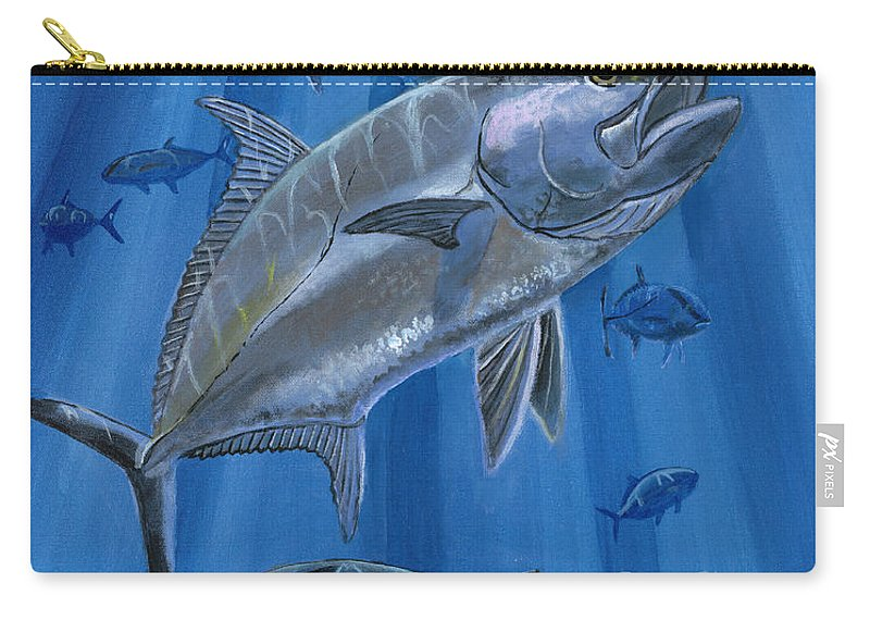 Amberjack Carry-all Pouch featuring the painting Amberjack In0029 by Carey Chen