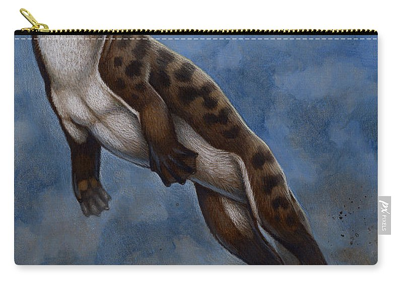 Illustration Technique Carry-all Pouch featuring the digital art Ambulocetus Natans, An Early Cetacean by H. Kyoht Luterman