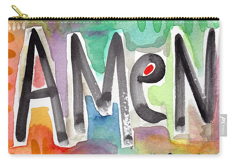 Amen Greeting Card Carry-all Pouch featuring the mixed media Amen Greeting Card by Linda Woods