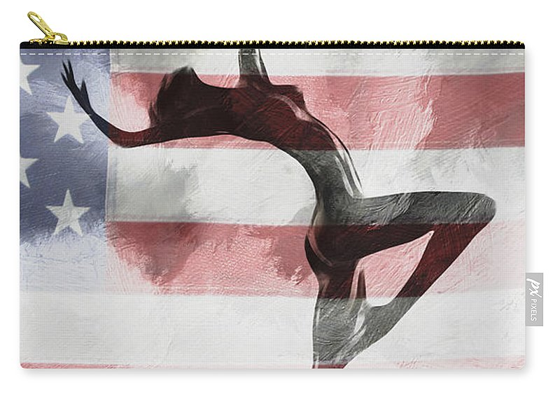 American Beauty Ballet Ballerina Flag Usa Stars Stripes Erotic Expressionism Painting Nude Naked Sexy Dance Dancer Dancing Woman Girl Female Carry-all Pouch featuring the painting American Beauty by Steve K