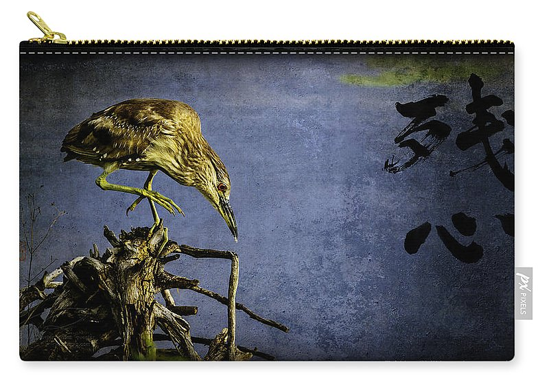 American Bittern Carry-all Pouch featuring the mixed media American Bittern With Brush Calligraphy Lingering Mind by Peter v Quenter