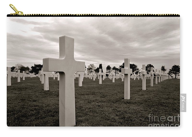 France Carry-all Pouch featuring the photograph American Cemetery In Normandy by Olivier Le Queinec