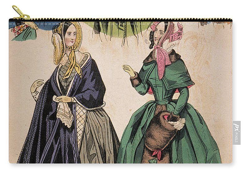 1842 Carry-all Pouch featuring the drawing American Fashion Print by Granger