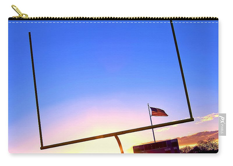 Football Carry-all Pouch featuring the photograph American Football Goal Posts by Olivier Le Queinec