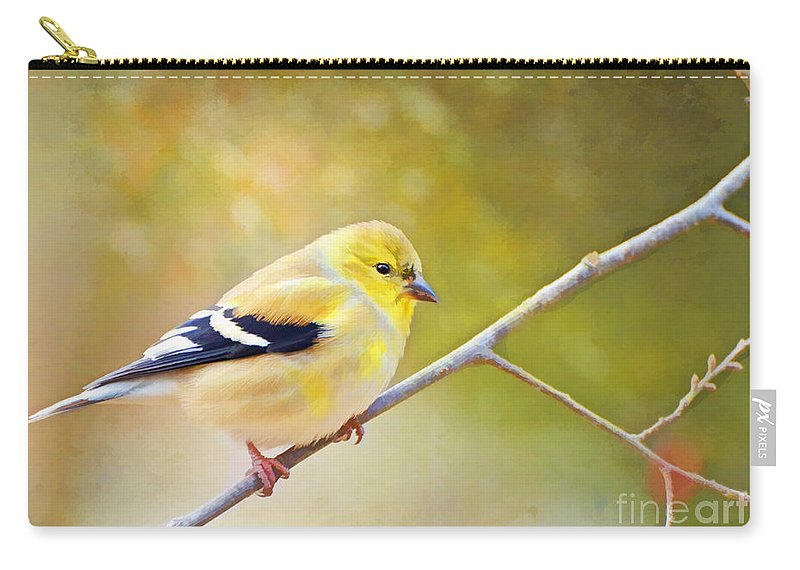 Branch Carry-all Pouch featuring the photograph American Goldfinch - Digital Paint by Debbie Portwood
