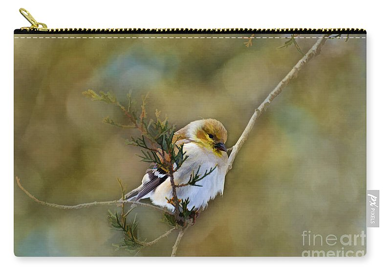 Branch Carry-all Pouch featuring the photograph American Goldfinch On A Cedar Twig - Digital Paint by Debbie Portwood