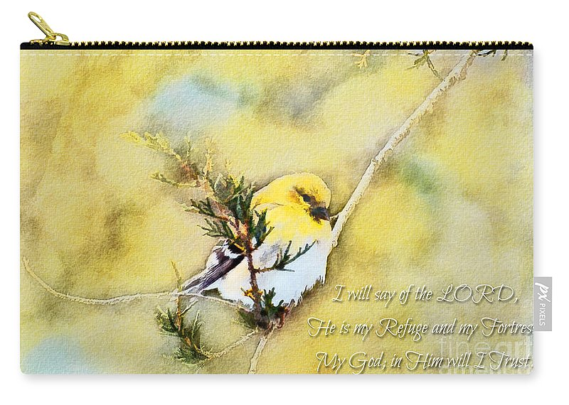 Branch Carry-all Pouch featuring the photograph American Goldfinch On A Cedar Twig With Digital Paint And Verse by Debbie Portwood