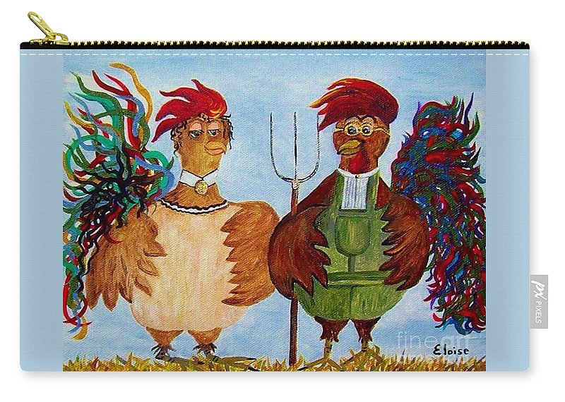 Rooster Carry-all Pouch featuring the painting American Gothic Down On The Farm - A Parody by Eloise Schneider