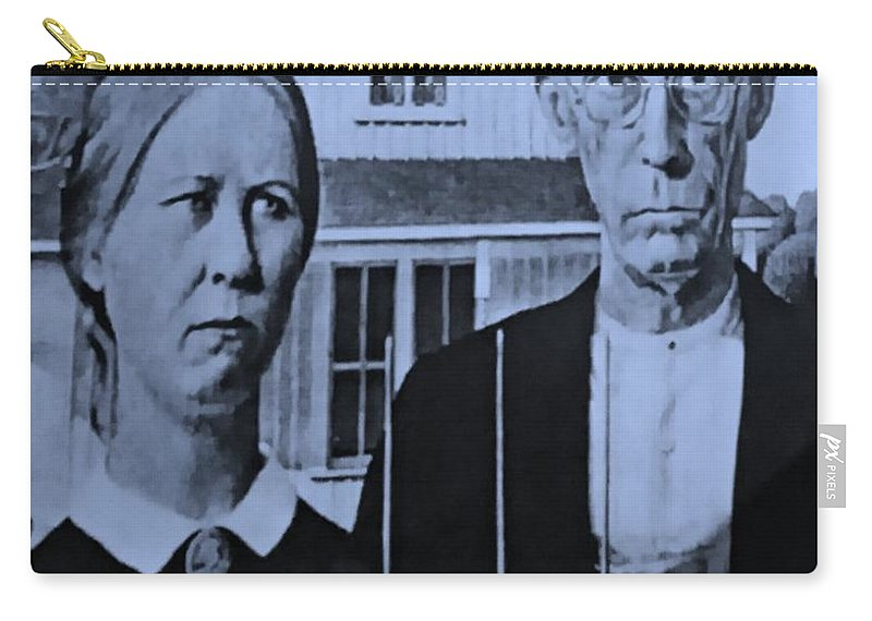 Americana Carry-all Pouch featuring the photograph American Gothic In Cyan by Rob Hans