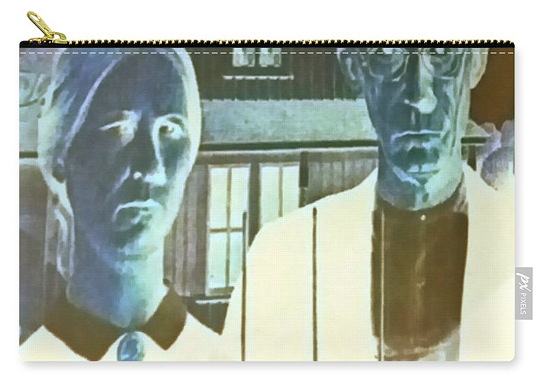 Americana Carry-all Pouch featuring the photograph American Gothic In Negative by Rob Hans