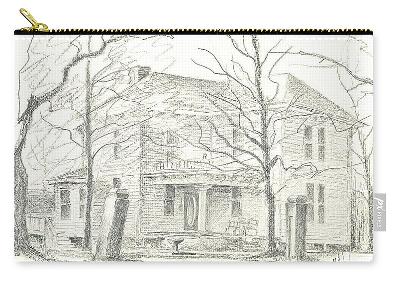 American Home Ii Carry-all Pouch featuring the drawing American Home II by Kip DeVore