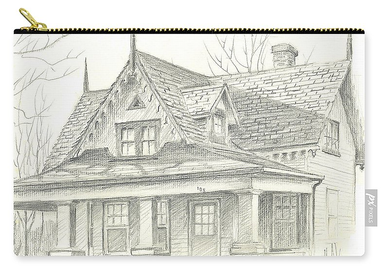 American Home Carry-all Pouch featuring the drawing American Home by Kip DeVore