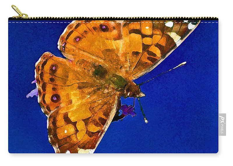 American Carry-all Pouch featuring the photograph American Lady Butterfly Blue Square by Karen Adams