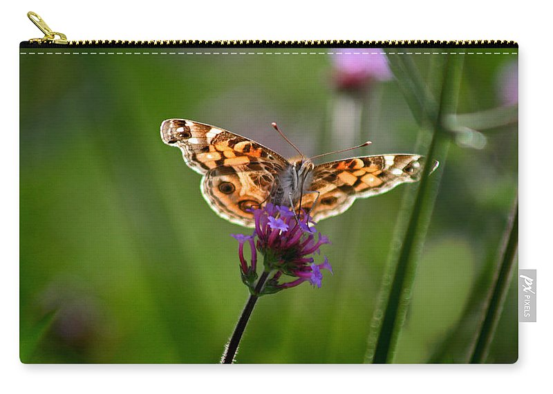 American Carry-all Pouch featuring the photograph American Lady Butterfly In Garden by Karen Adams