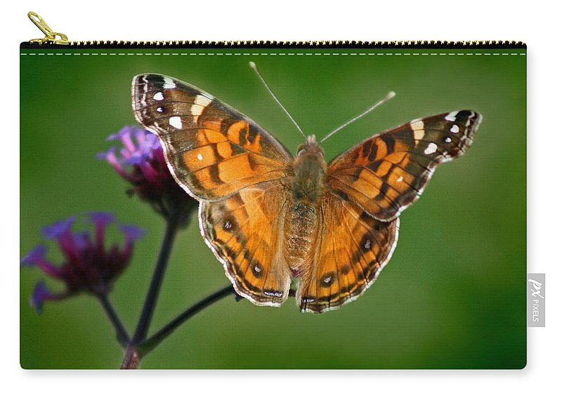 American Carry-all Pouch featuring the photograph American Lady Butterfly With Green Background by Karen Adams
