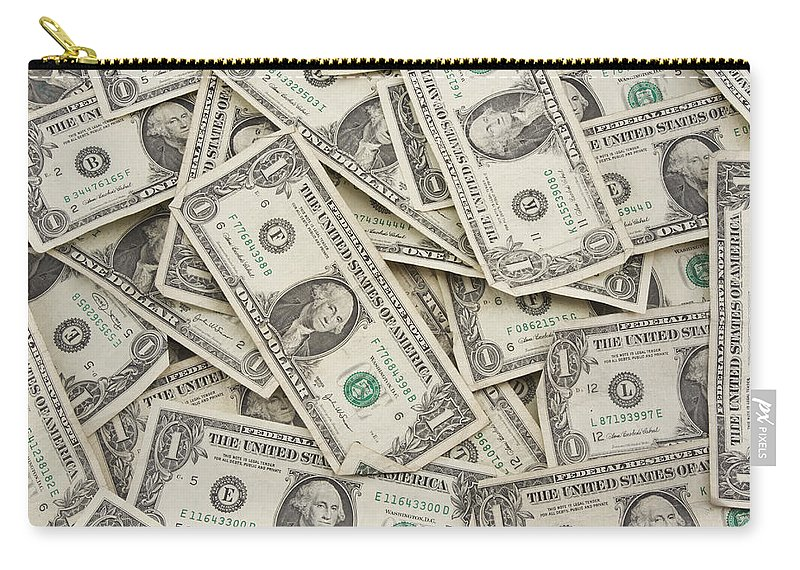One Dollar Bill Carry-all Pouch featuring the photograph American One Dollar Bills by Keith Webber Jr