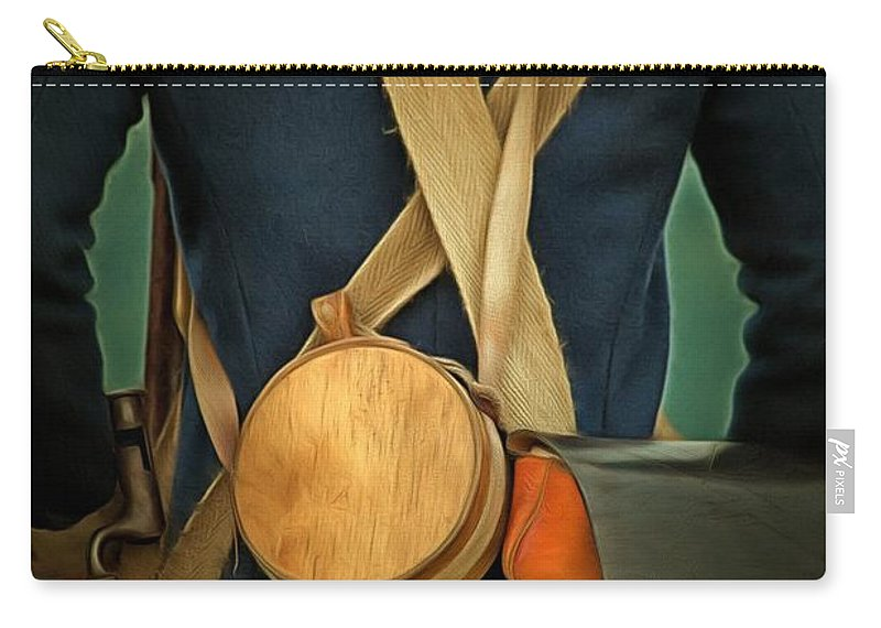 Canteen Carry-all Pouch featuring the photograph American Revolutionary Soldier by Edward Fielding