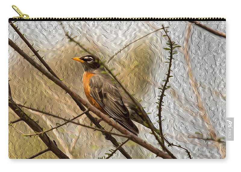 American Robin Carry-all Pouch featuring the photograph American Robin On A Branch by John M Bailey