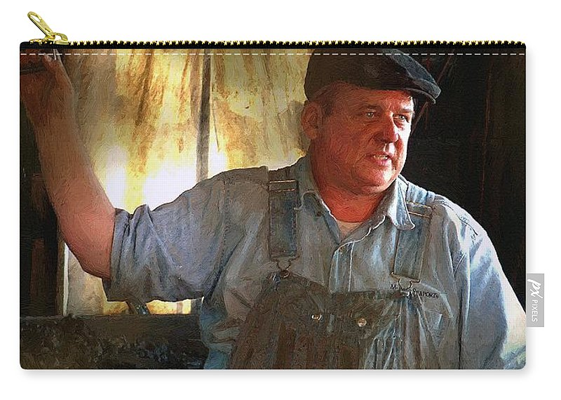 Portrait Carry-all Pouch featuring the painting American Workingman by RC DeWinter
