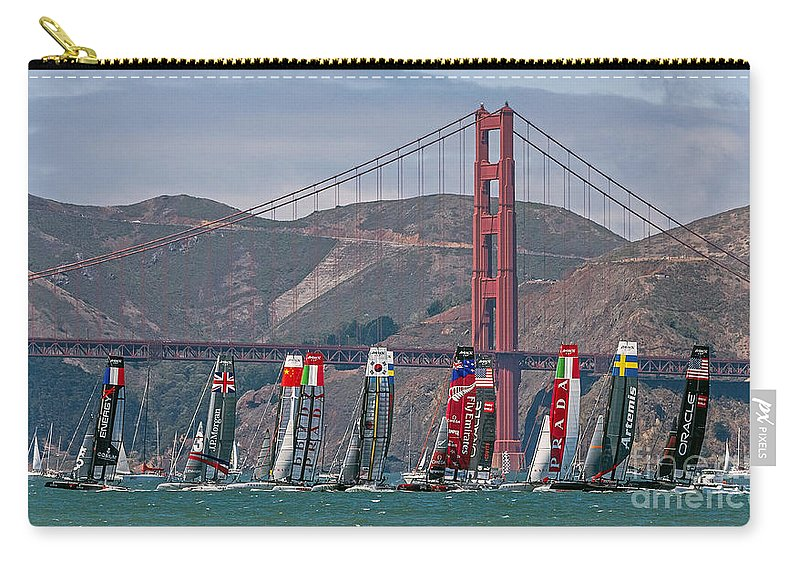 America's Cup Carry-all Pouch featuring the photograph Americas Cup Catamarans At The Golden Gate by Kate Brown