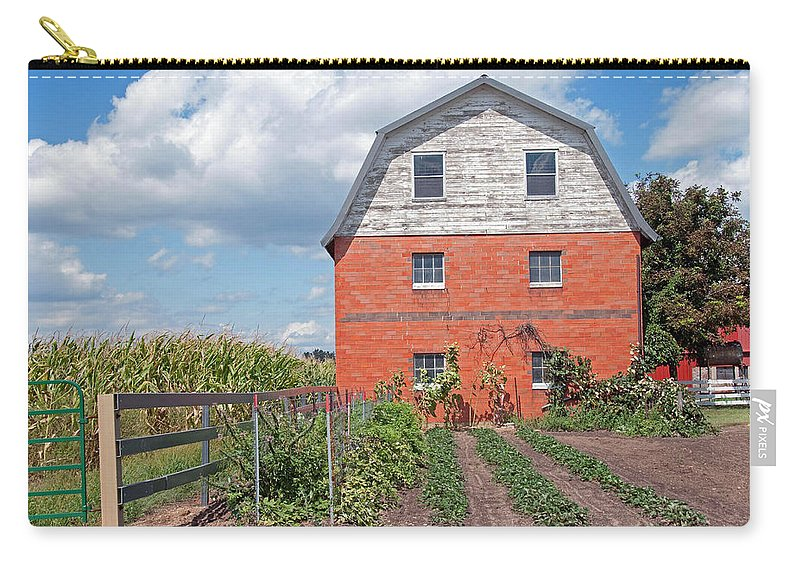 Amish Carry-all Pouch featuring the photograph Amish Barn And Garden by David Arment