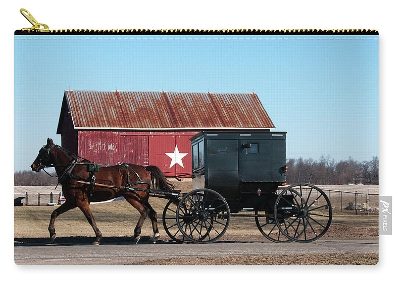Barn Carry-all Pouch featuring the photograph Amish Buggy And Star Barn by David Arment