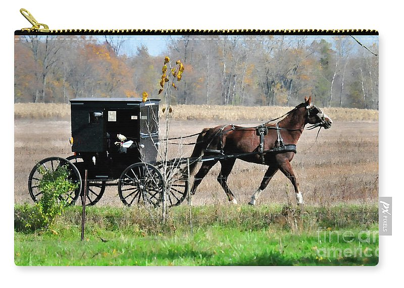 Amish Buggy Carry-all Pouch featuring the photograph Amish Buggy by David Arment
