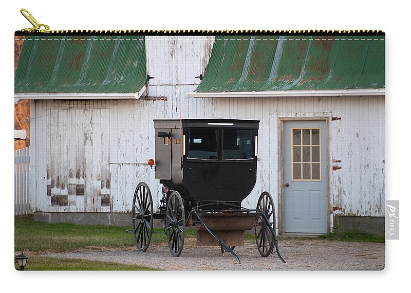 Amish Buggy Carry-all Pouch featuring the photograph Amish Buggy White Barn by David Arment