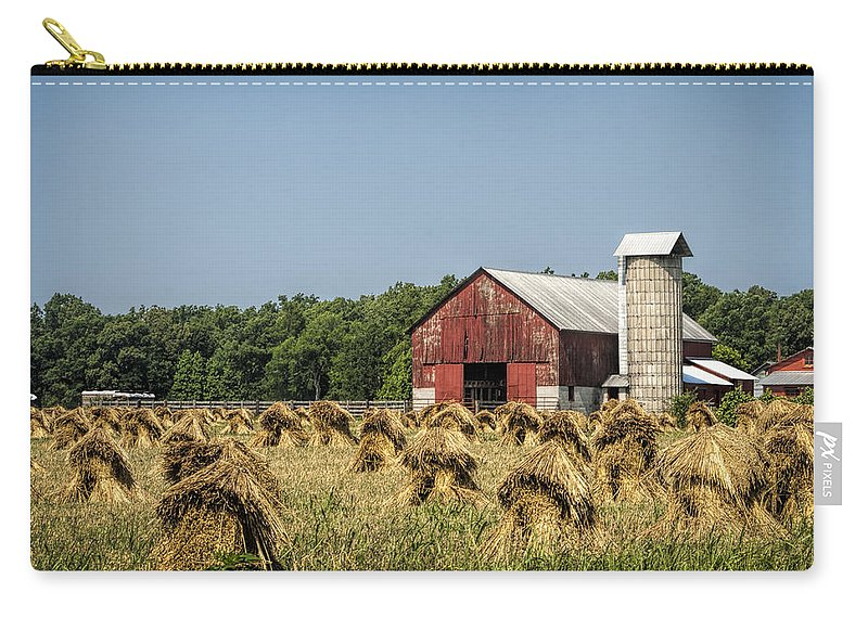 Amish Carry-all Pouch featuring the photograph Amish Country Wheat Stacks And Barn by Kathy Clark