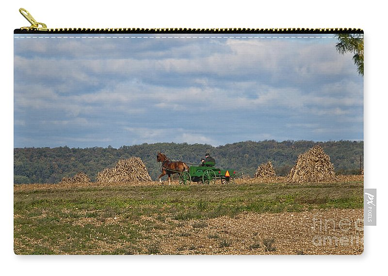 Amish Carry-all Pouch featuring the photograph Amish Man Boy Buggy by David Arment