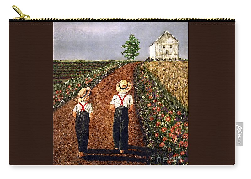 Lifestyle Carry-all Pouch featuring the painting Amish Road by Linda Simon