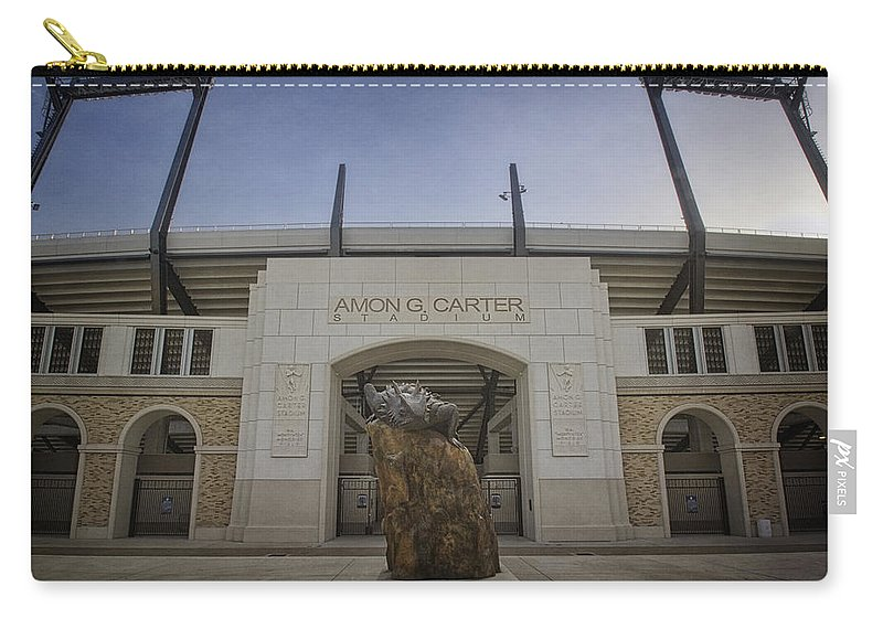 Tcu Carry-all Pouch featuring the photograph Amon G Carter Stadium At Tcu by Joan Carroll