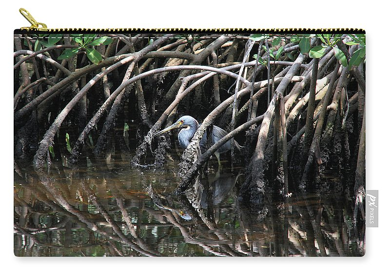 Tricolored Heron Carry-all Pouch featuring the photograph Among The Mangrove Roots by Doris Potter