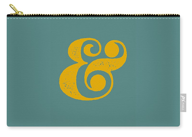 Ampersand Carry-all Pouch featuring the digital art Ampersand Poster Blue and Yellow by Naxart Studio
