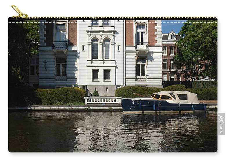 Amsterdam Carry-all Pouch featuring the photograph Amsterdam Canal Mansions - Bright White Symmetry by Georgia Mizuleva