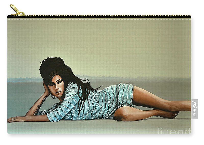 Amy Winehouse Carry-all Pouch featuring the painting Amy Winehouse 2 by Paul Meijering