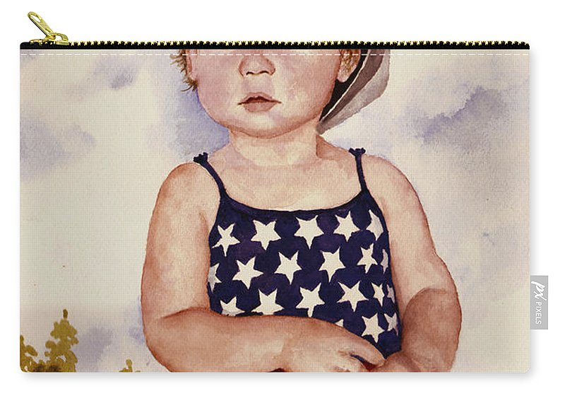 Kid Carry-all Pouch featuring the painting An All American Girl Named Ireland by Sam Sidders