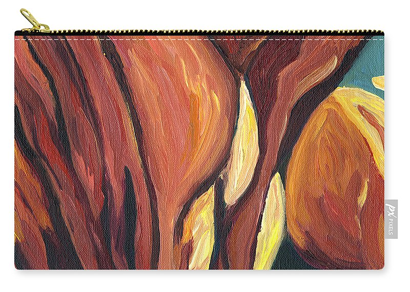 Flower Carry-all Pouch featuring the painting An Ant's View by Lisa Foster