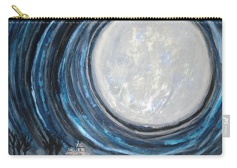 Moon Carry-all Pouch featuring the painting An Apparition Of The Moon by T Byron K