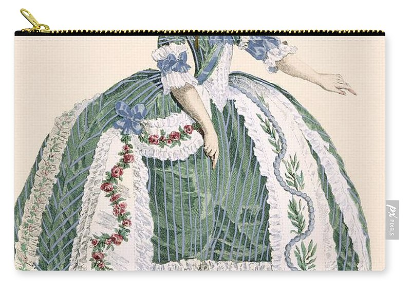 Carry-all Pouch featuring the drawing An Elaborate Royal Court Gown, Engraved by Augustin de Saint-Aubin