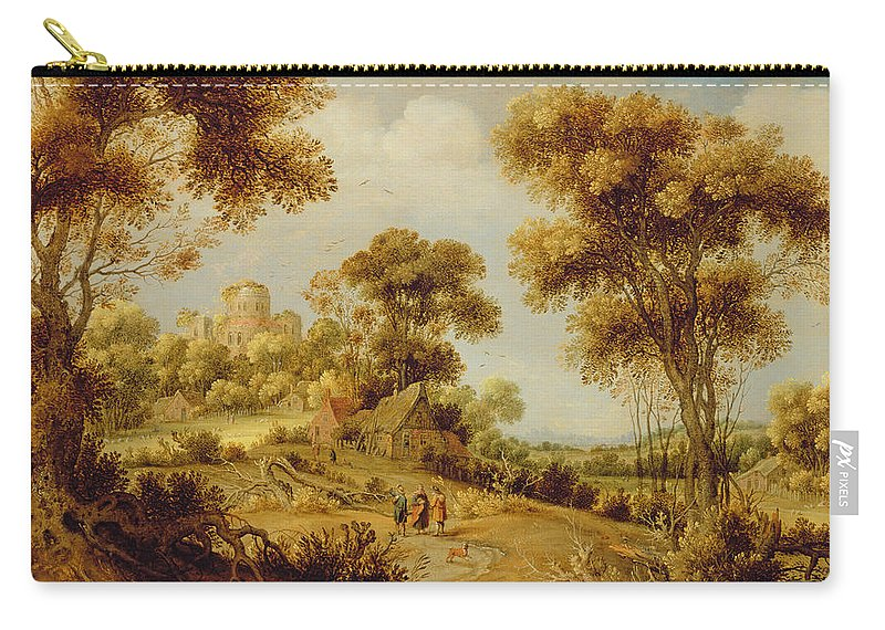 Resurrection Carry-all Pouch featuring the painting An Extensive Wooded Landscape by Gillis Claesz d' Hondecoeter