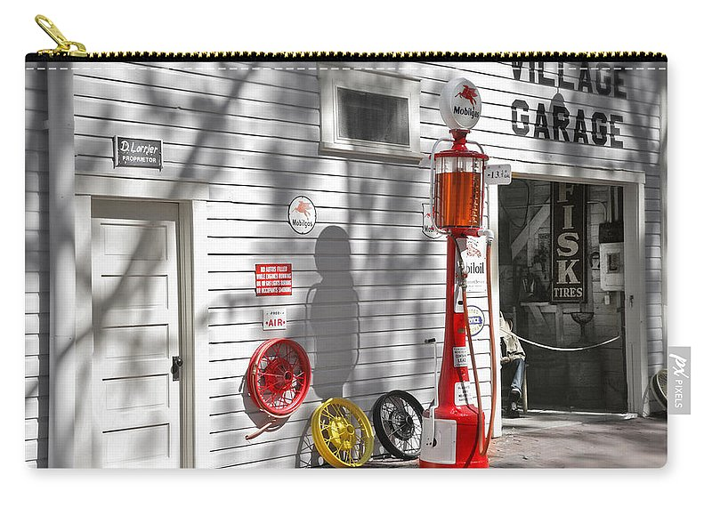 Garage Carry-all Pouch featuring the photograph An Old Village Gas Station by Mal Bray