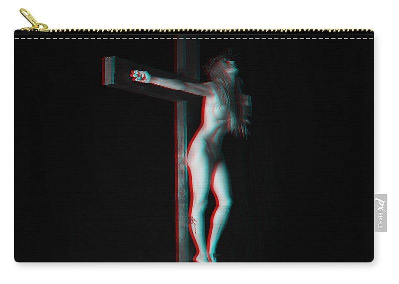 Anaglyph Carry-all Pouch featuring the photograph Anaglyph Dark Crucifix by Ramon Martinez