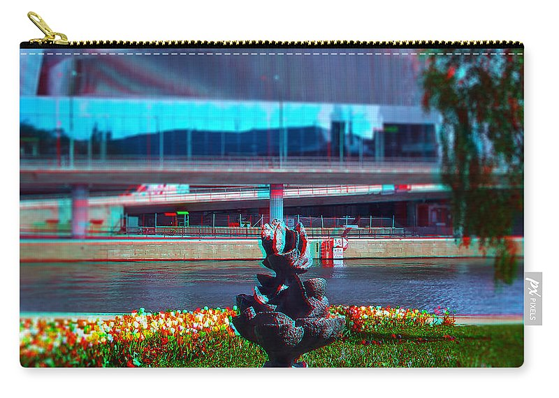 Anaglyph Carry-all Pouch featuring the photograph Anaglyph Modern Sculpture by Ramon Martinez