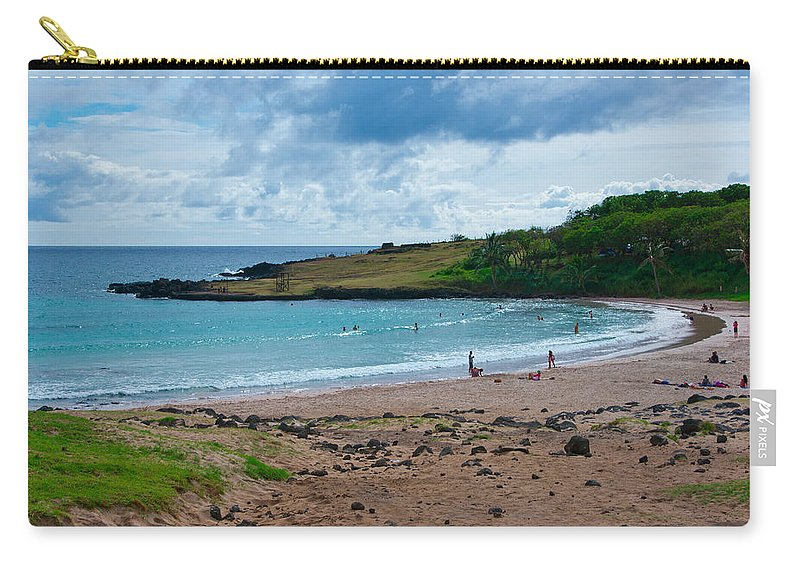 Easter Island Carry-all Pouch featuring the photograph Anakena Beach by Kent Nancollas